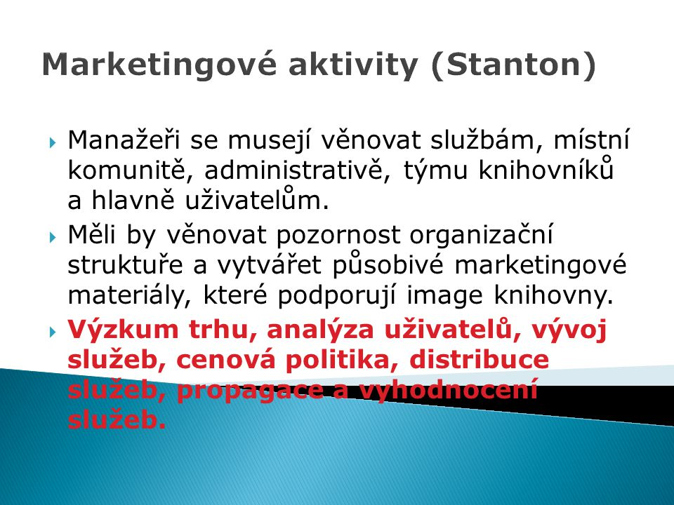 Marketingové aktivity (Stanton)