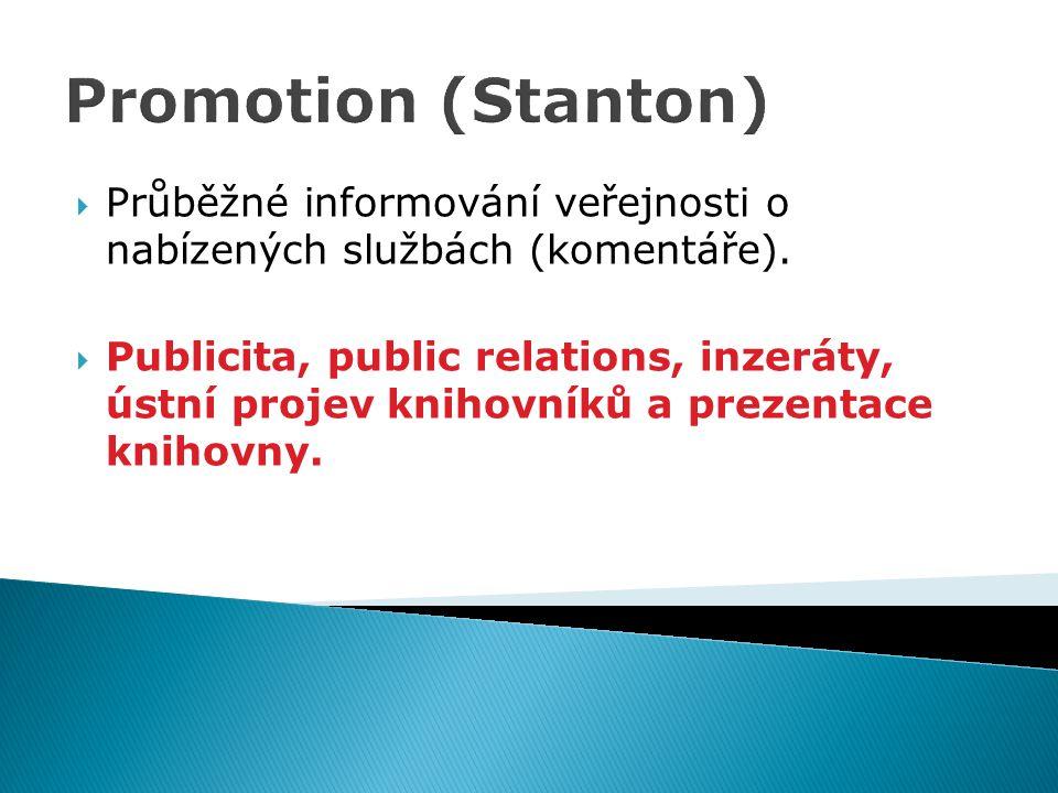 Promotion (Stanton) Průběžné informování veřejnosti o nabízených službách (komentáře).