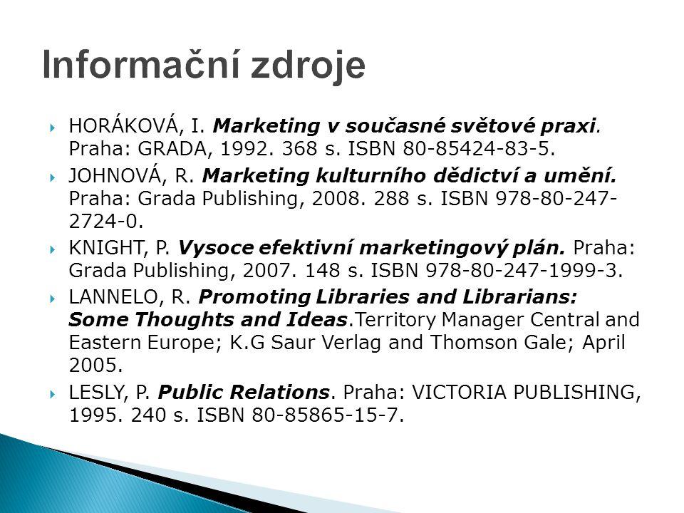 Informační zdroje HORÁKOVÁ, I. Marketing v současné světové praxi. Praha: GRADA, 1992. 368 s. ISBN 80-85424-83-5.