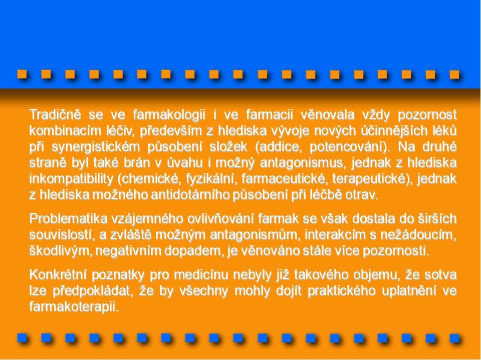 Tradičně se ve farmakologii i ve farmacii věnovala vždy pozornost kombinacím léčiv, především z hlediska vývoje nových účinnějších léků při synergistickém působení složek (addice, potencování). Na druhé straně byl také brán v úvahu i možný antagonismus, jednak z hlediska inkompatibility (chemické, fyzikální, farmaceutické, terapeutické), jednak z hlediska možného antidotárního působení při léčbě otrav.