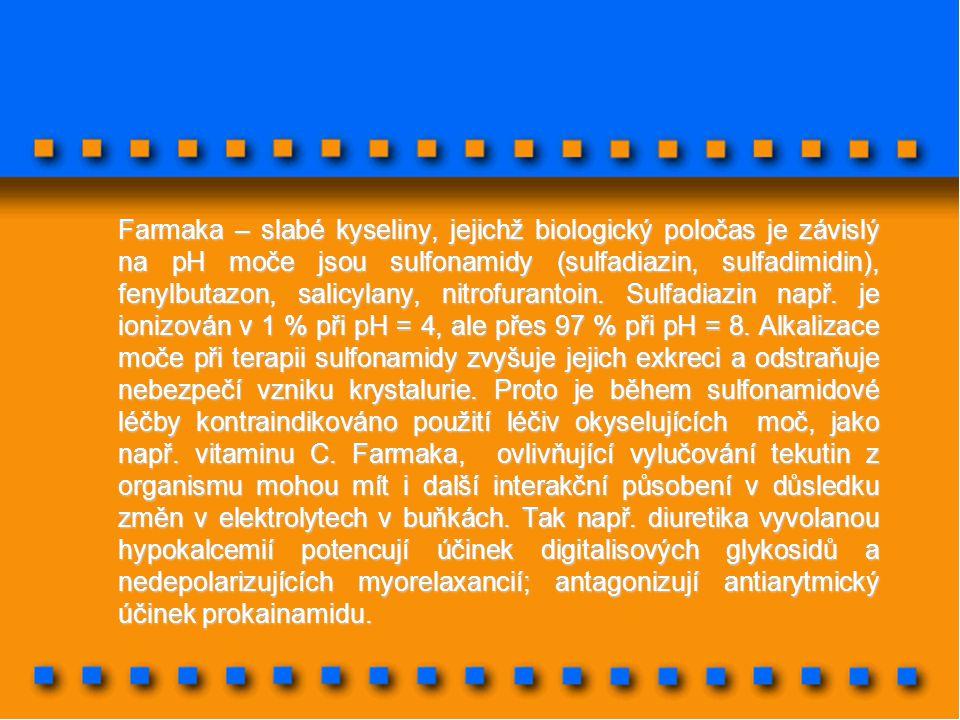 Farmaka – slabé kyseliny, jejichž biologický poločas je závislý na pH moče jsou sulfonamidy (sulfadiazin, sulfadimidin), fenylbutazon, salicylany, nitrofurantoin.