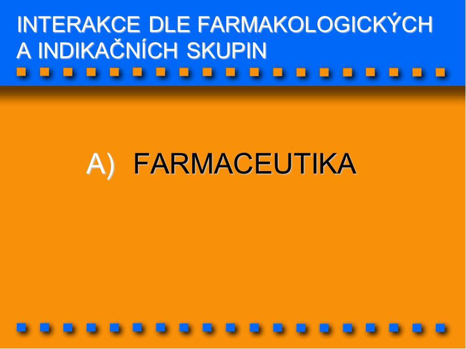 INTERAKCE DLE FARMAKOLOGICKÝCH A INDIKAČNÍCH SKUPIN