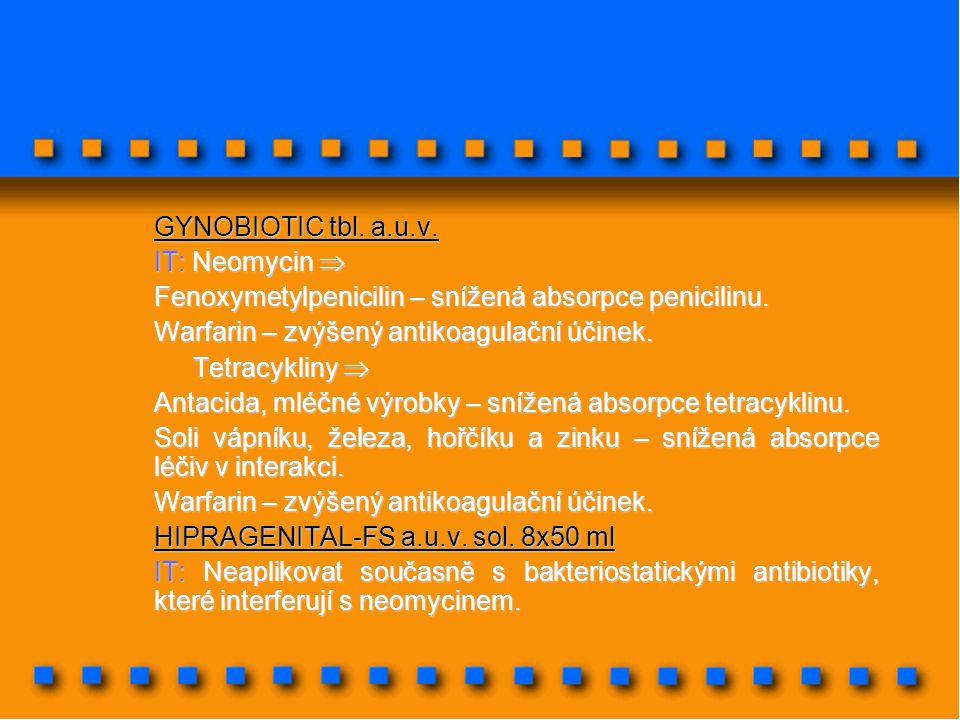 GYNOBIOTIC tbl. a.u.v. IT: Neomycin  Fenoxymetylpenicilin – snížená absorpce penicilinu. Warfarin – zvýšený antikoagulační účinek.