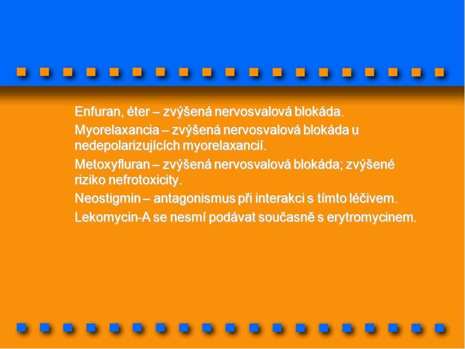 Enfuran, éter – zvýšená nervosvalová blokáda.