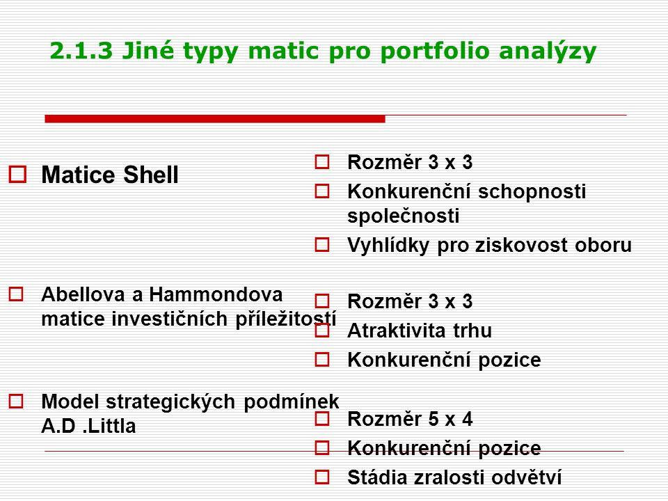 2.1.3 Jiné typy matic pro portfolio analýzy
