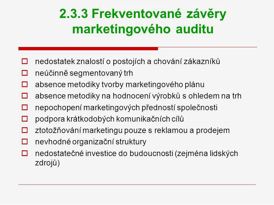 2.3.3 Frekventované závěry marketingového auditu