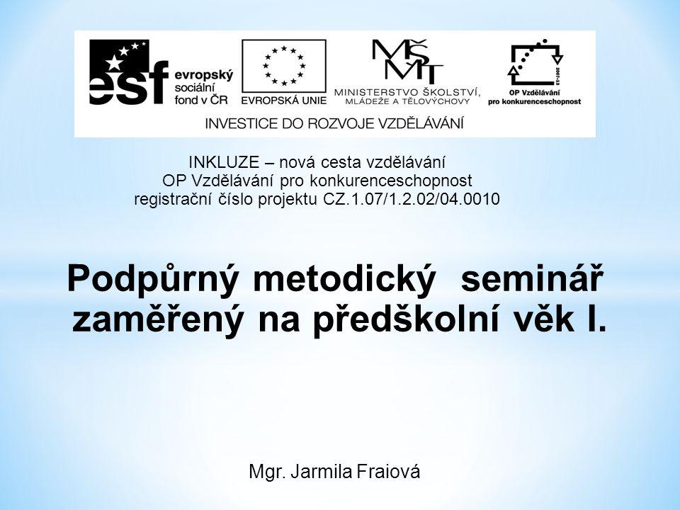Podpůrný metodický seminář zaměřený na předškolní věk I.