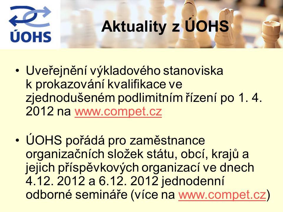 Aktuality z ÚOHS Uveřejnění výkladového stanoviska k prokazování kvalifikace ve zjednodušeném podlimitním řízení po 1. 4. 2012 na www.compet.cz.
