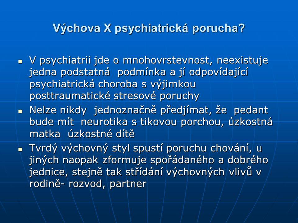 Výchova X psychiatrická porucha