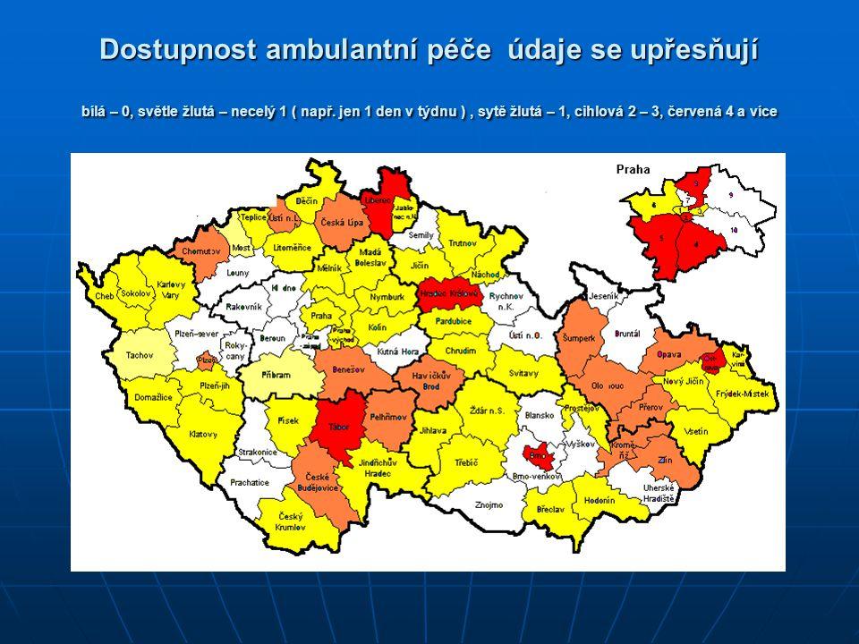 Dostupnost ambulantní péče údaje se upřesňují bílá – 0, světle žlutá – necelý 1 ( např.