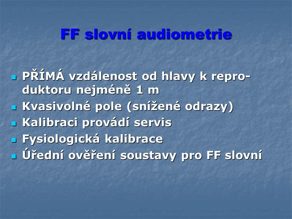 FF slovní audiometrie PŘÍMÁ vzdálenost od hlavy k repro-duktoru nejméně 1 m. Kvasivolné pole (snížené odrazy)