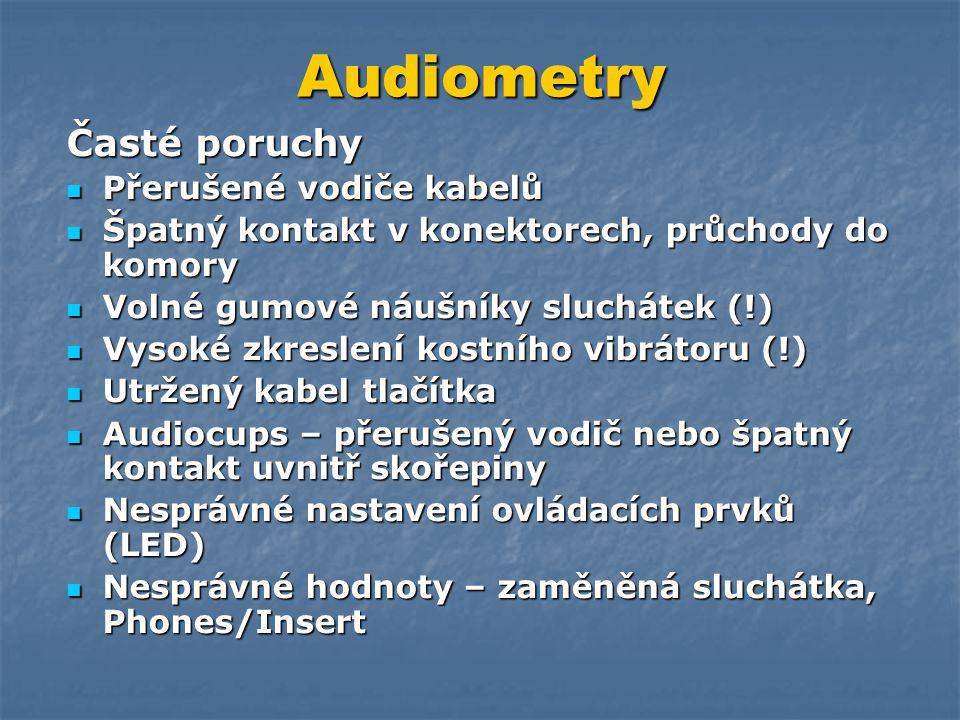 Audiometry Časté poruchy Přerušené vodiče kabelů