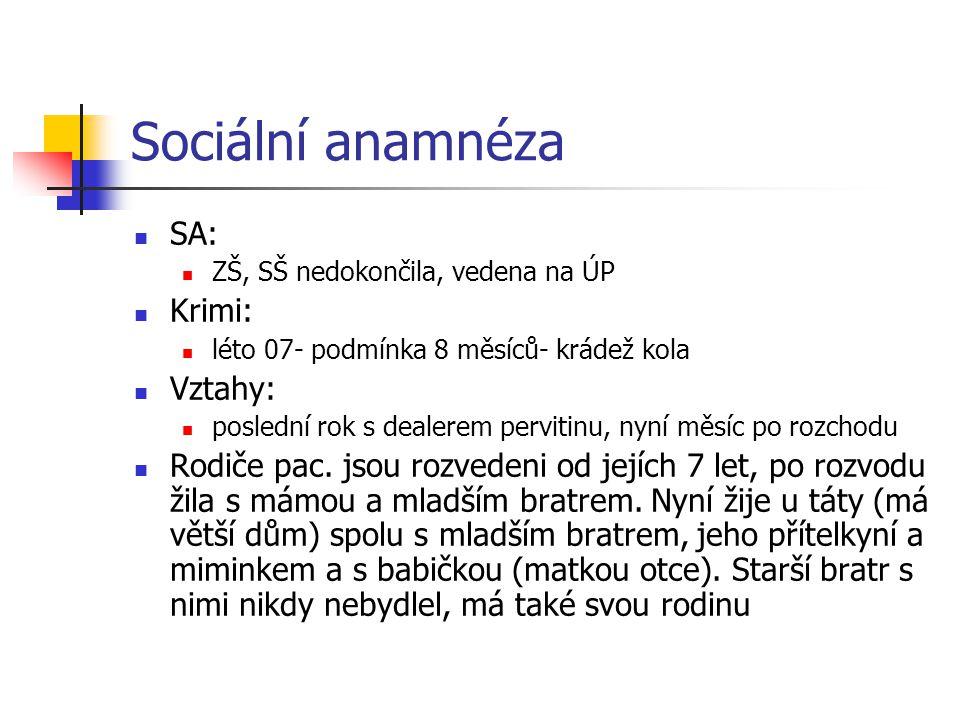Sociální anamnéza SA: Krimi: Vztahy: