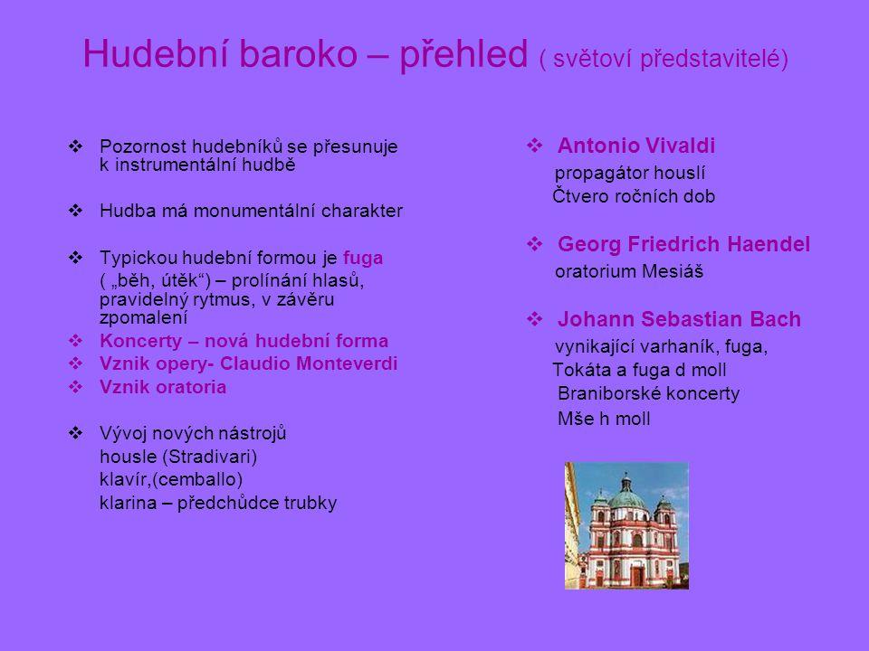 Hudební baroko – přehled ( světoví představitelé)