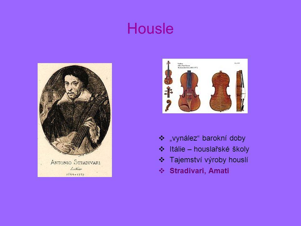 """Housle """"vynález barokní doby Itálie – houslařské školy"""