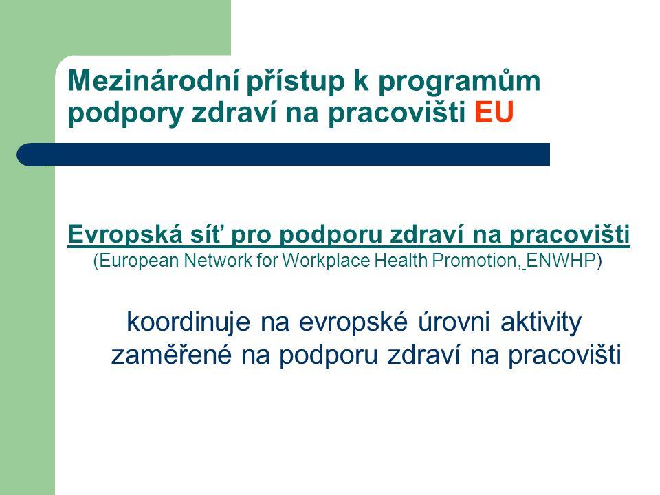Mezinárodní přístup k programům podpory zdraví na pracovišti EU