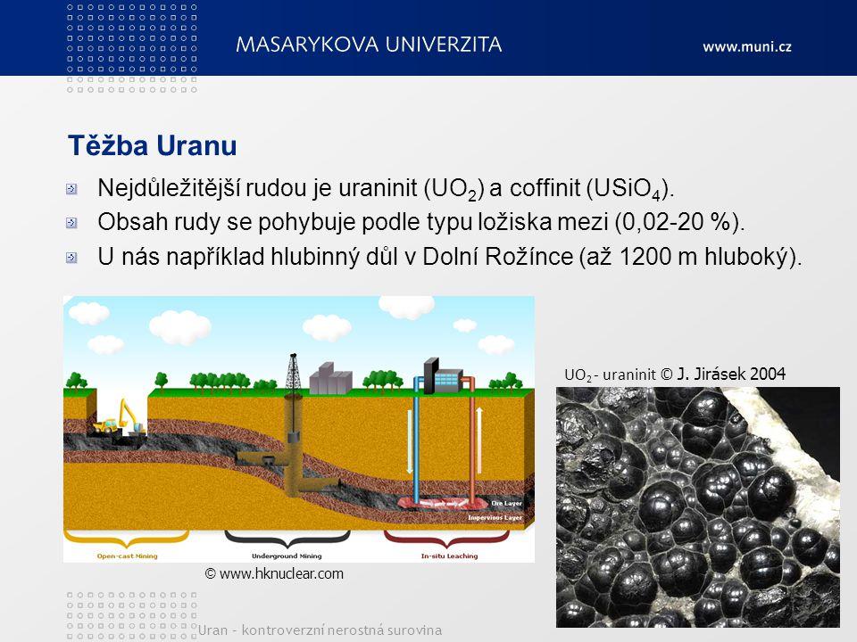 Těžba Uranu Nejdůležitější rudou je uraninit (UO2) a coffinit (USiO4).