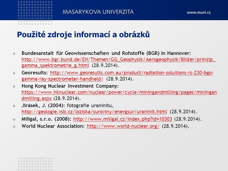 Použité zdroje informací a obrázků