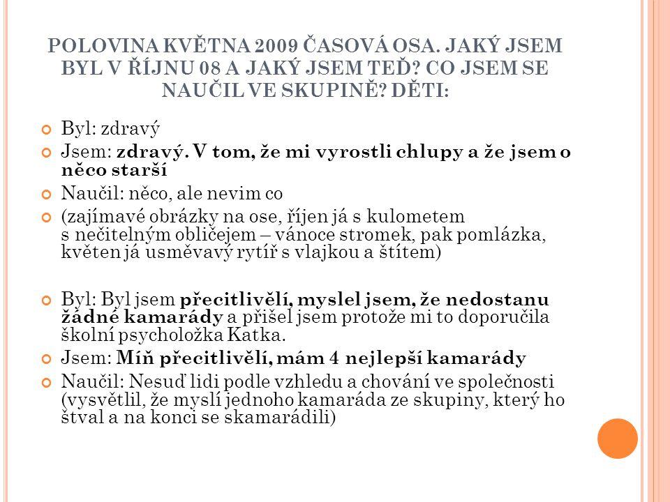 POLOVINA KVĚTNA 2009 ČASOVÁ OSA
