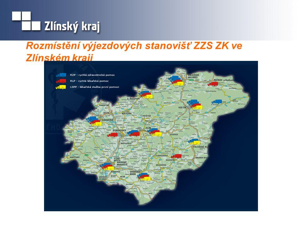 Rozmístění výjezdových stanovišť ZZS ZK ve Zlínském kraji