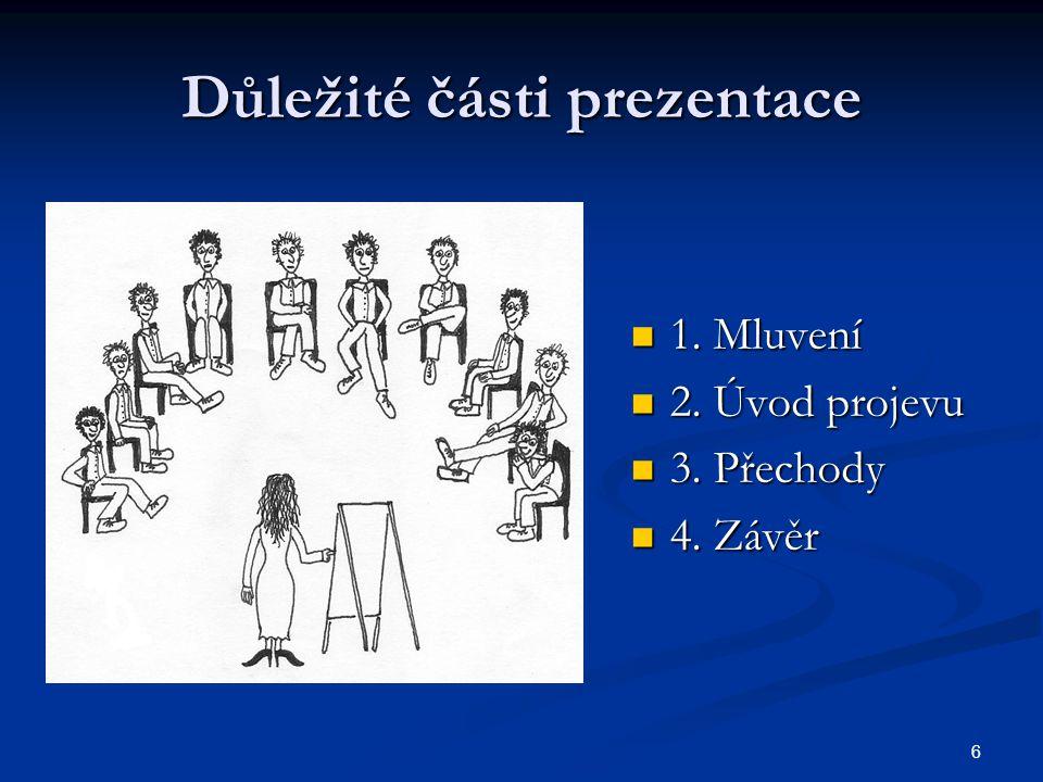 Důležité části prezentace