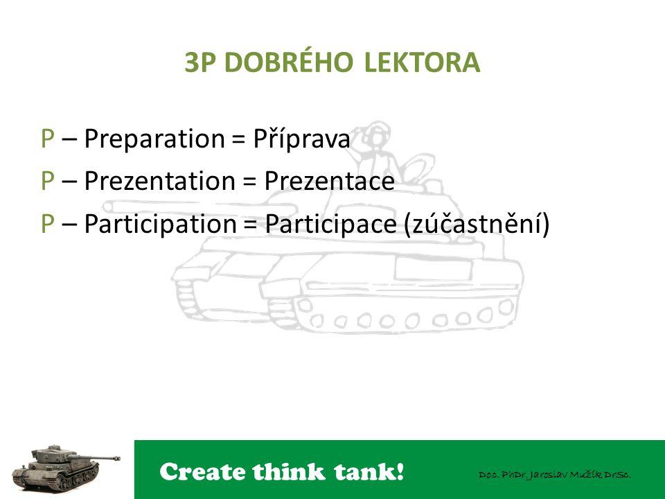 3P DOBRÉHO LEKTORA P – Preparation = Příprava P – Prezentation = Prezentace P – Participation = Participace (zúčastnění)