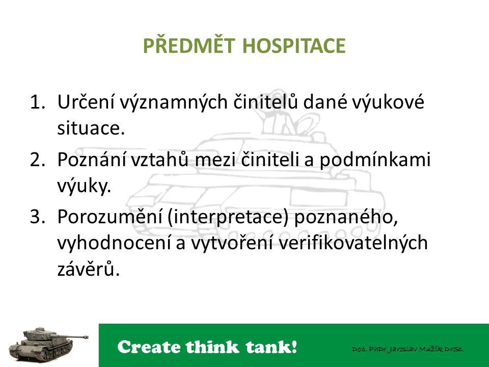 PŘEDMĚT HOSPITACE Určení významných činitelů dané výukové situace.