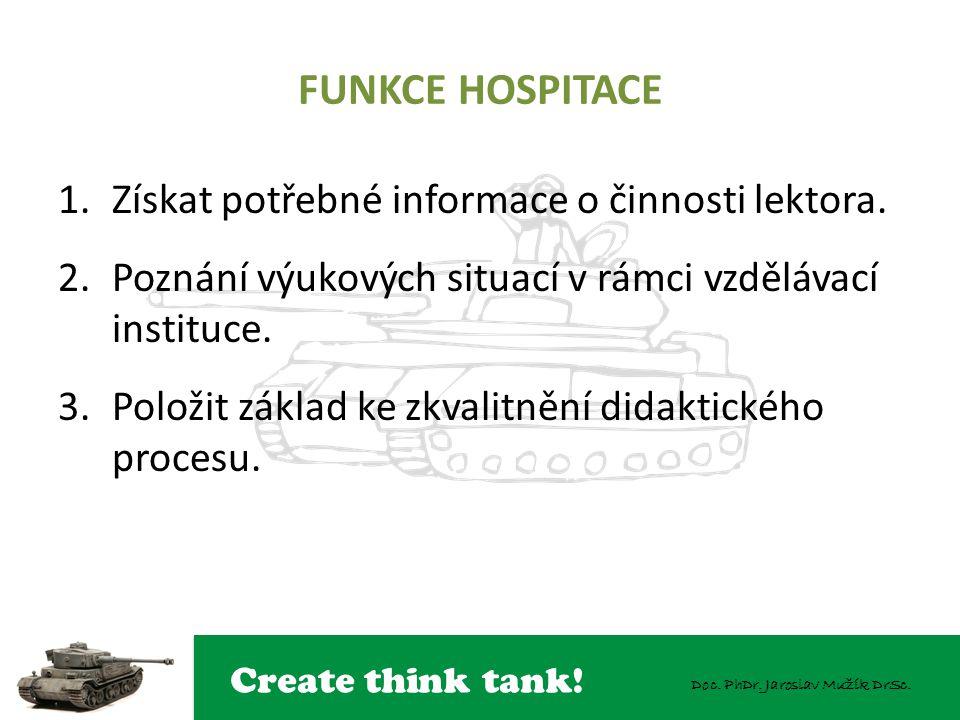 FUNKCE HOSPITACE Získat potřebné informace o činnosti lektora.