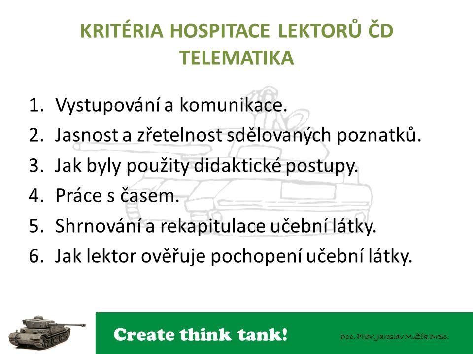 KRITÉRIA HOSPITACE LEKTORŮ ČD TELEMATIKA