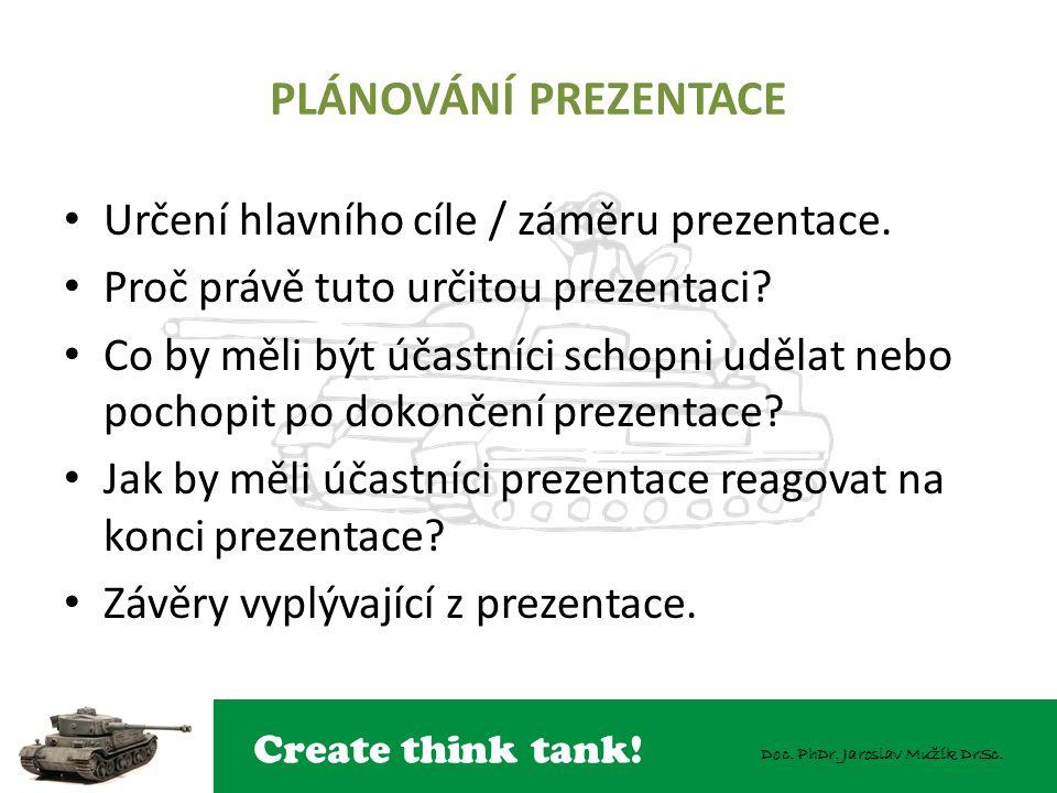 PLÁNOVÁNÍ PREZENTACE Určení hlavního cíle / záměru prezentace.