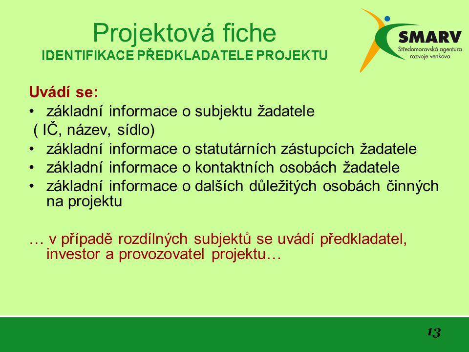 Projektová fiche IDENTIFIKACE PŘEDKLADATELE PROJEKTU