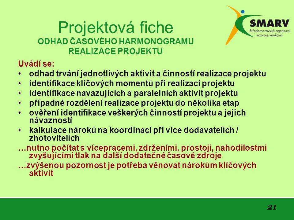 Projektová fiche ODHAD ČASOVÉHO HARMONOGRAMU REALIZACE PROJEKTU