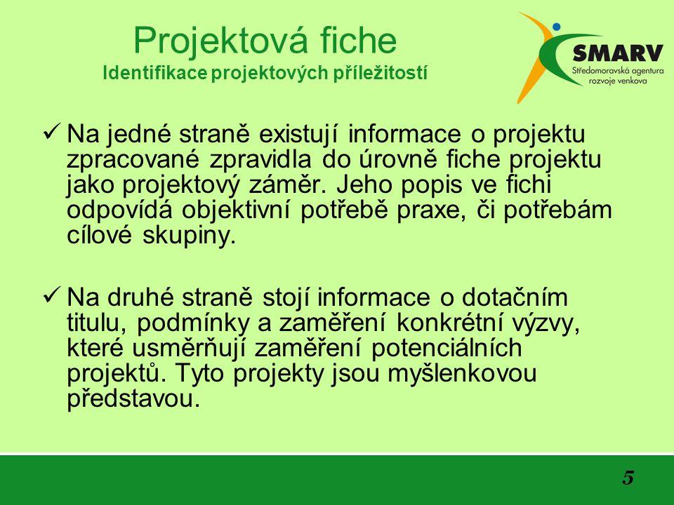 Projektová fiche Identifikace projektových příležitostí