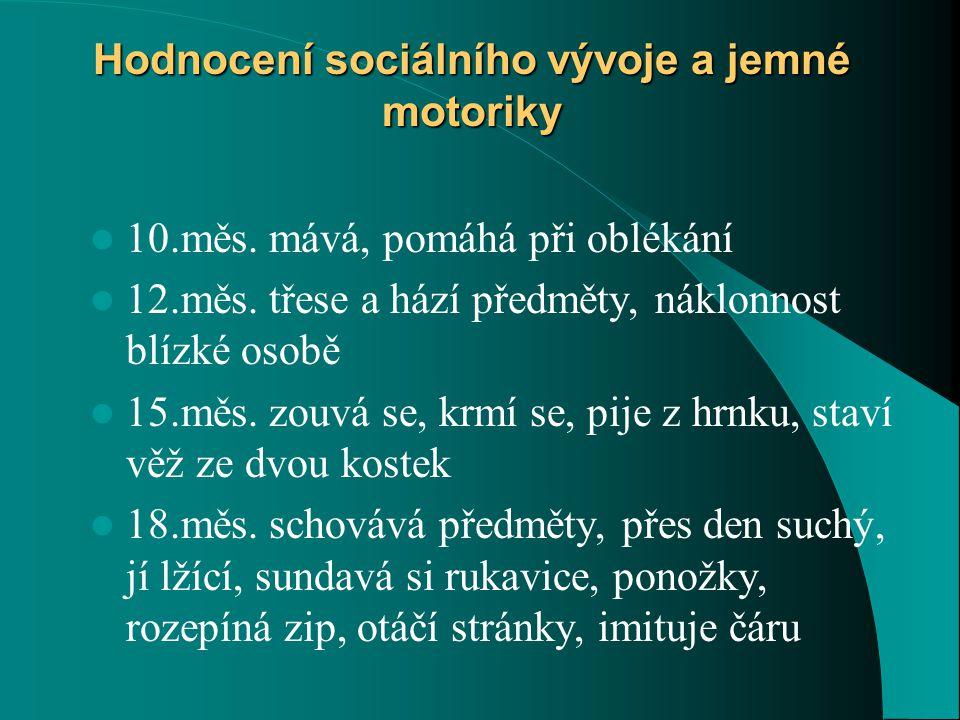Hodnocení sociálního vývoje a jemné motoriky