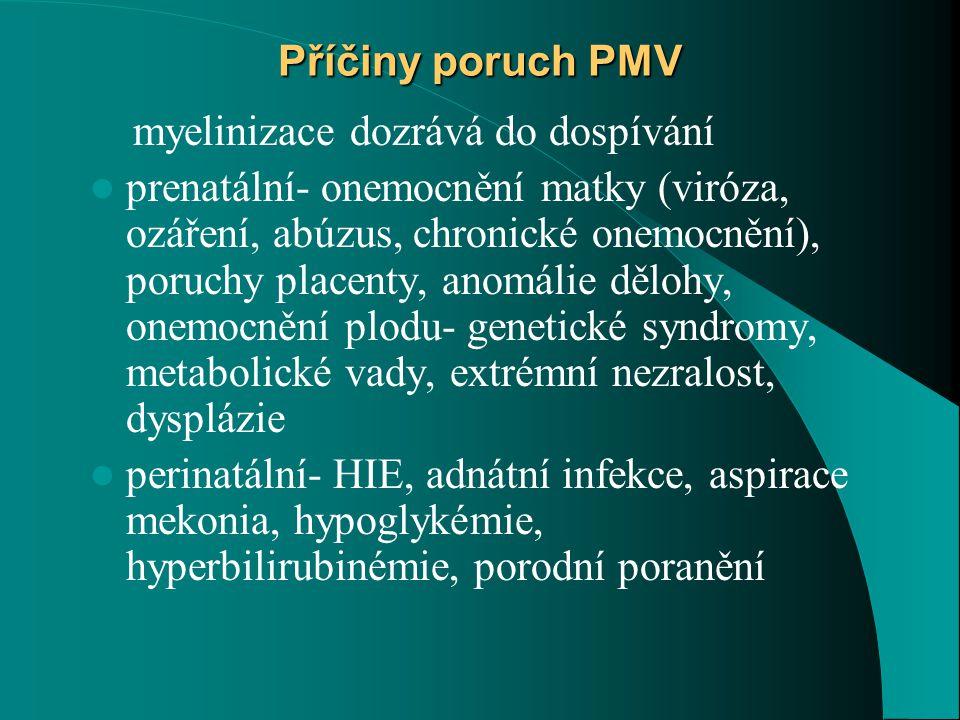 Příčiny poruch PMV myelinizace dozrává do dospívání.