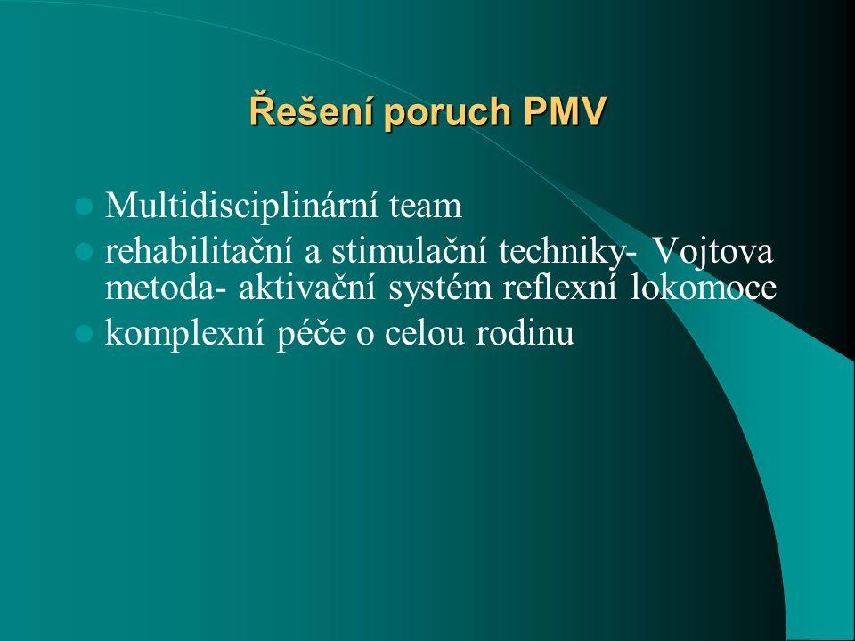 Řešení poruch PMV Multidisciplinární team. rehabilitační a stimulační techniky- Vojtova metoda- aktivační systém reflexní lokomoce.