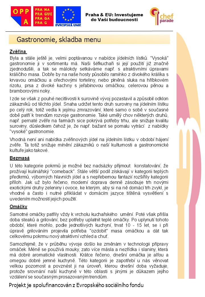 Gastronomie, skladba menu
