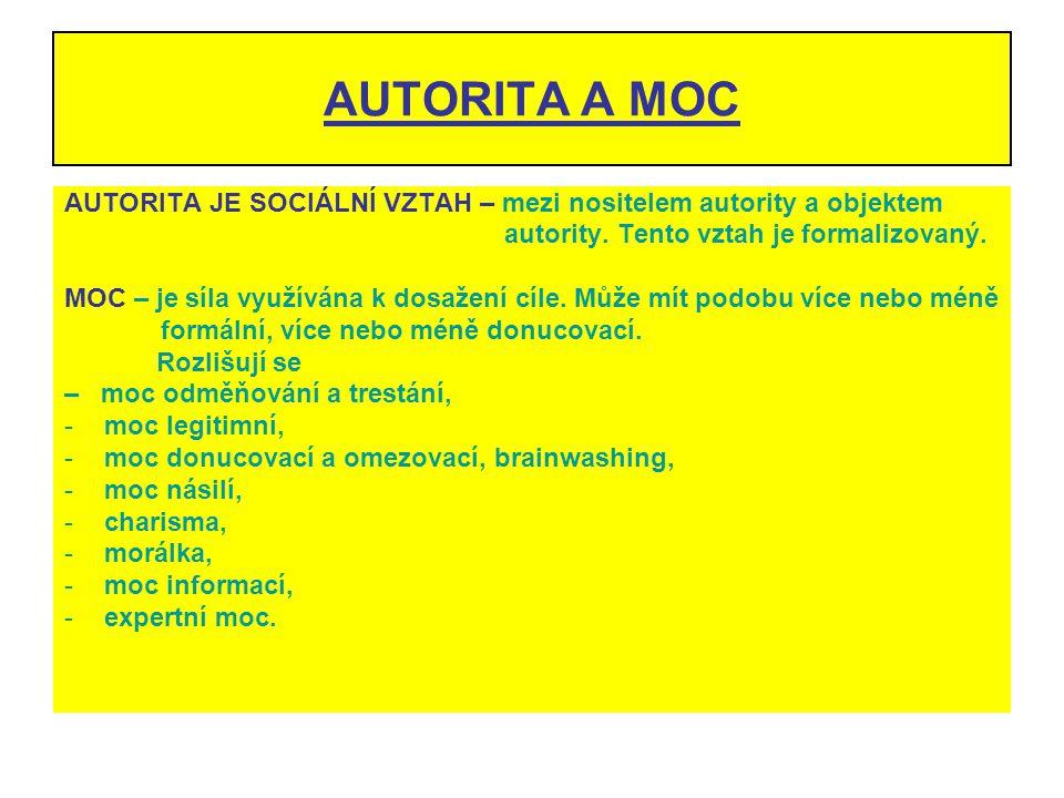 AUTORITA A MOC AUTORITA JE SOCIÁLNÍ VZTAH – mezi nositelem autority a objektem. autority. Tento vztah je formalizovaný.