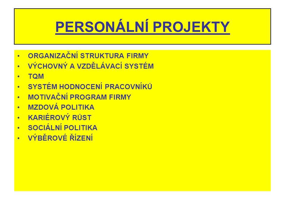 PERSONÁLNÍ PROJEKTY ORGANIZAČNÍ STRUKTURA FIRMY