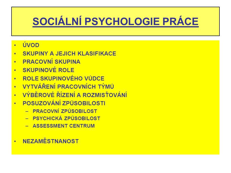 SOCIÁLNÍ PSYCHOLOGIE PRÁCE
