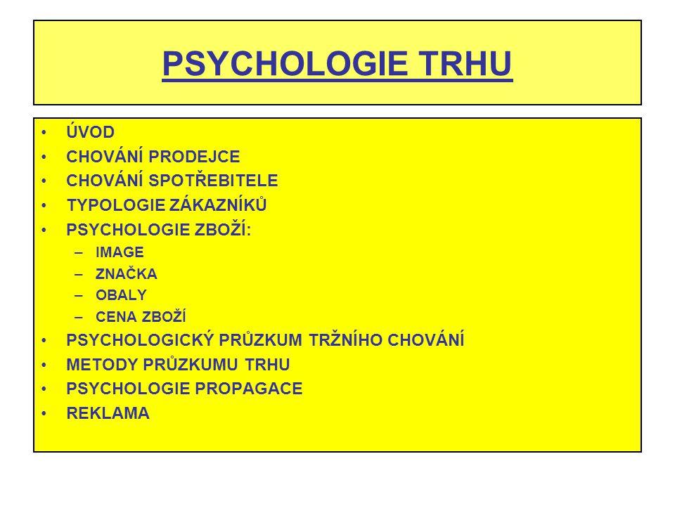 PSYCHOLOGIE TRHU ÚVOD CHOVÁNÍ PRODEJCE CHOVÁNÍ SPOTŘEBITELE