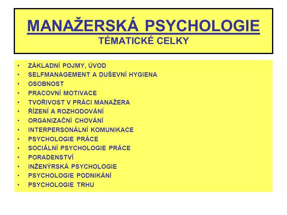 MANAŽERSKÁ PSYCHOLOGIE TÉMATICKÉ CELKY