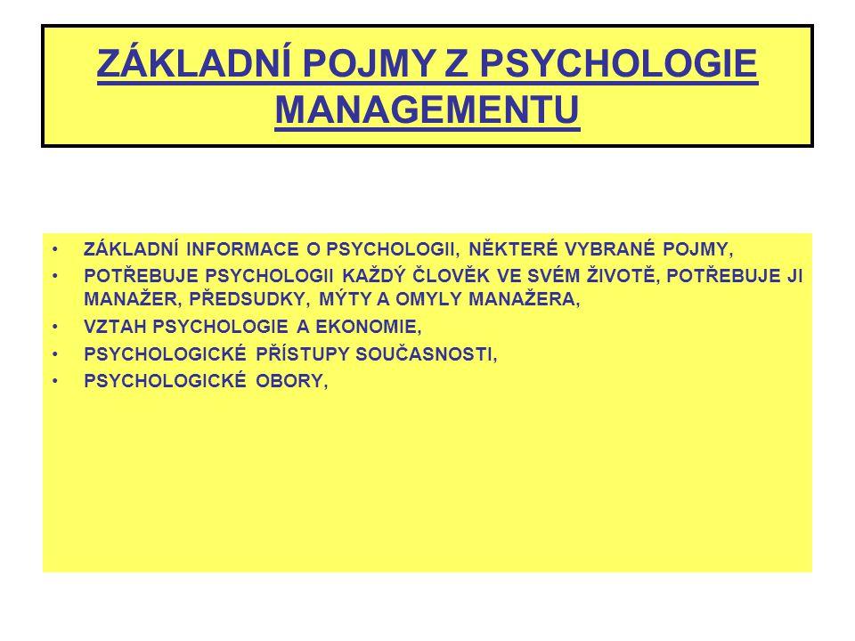 ZÁKLADNÍ POJMY Z PSYCHOLOGIE MANAGEMENTU