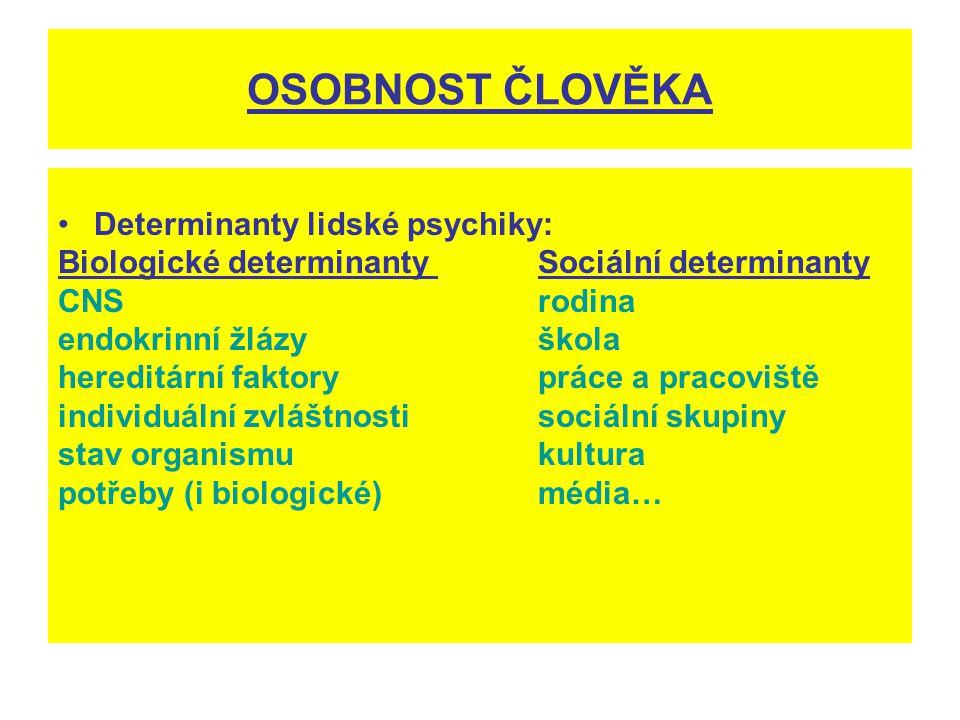 OSOBNOST ČLOVĚKA Determinanty lidské psychiky: