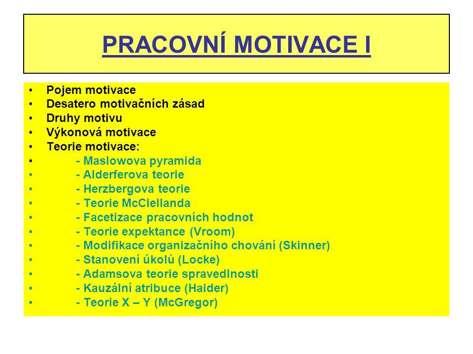 PRACOVNÍ MOTIVACE I Pojem motivace Desatero motivačních zásad