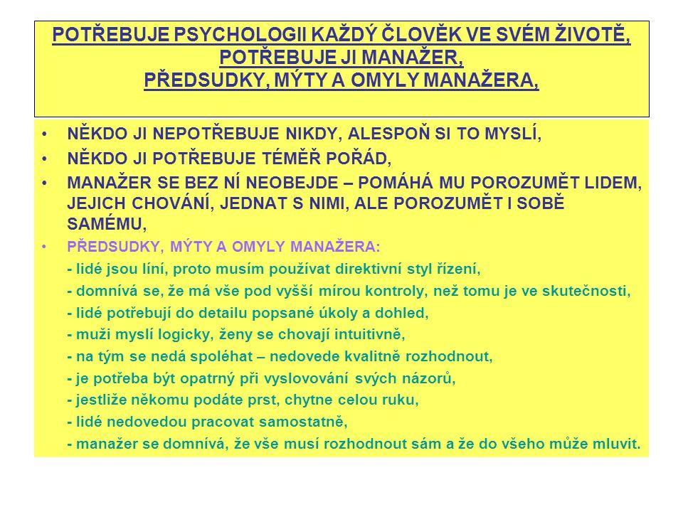 POTŘEBUJE PSYCHOLOGII KAŽDÝ ČLOVĚK VE SVÉM ŽIVOTĚ, POTŘEBUJE JI MANAŽER, PŘEDSUDKY, MÝTY A OMYLY MANAŽERA,