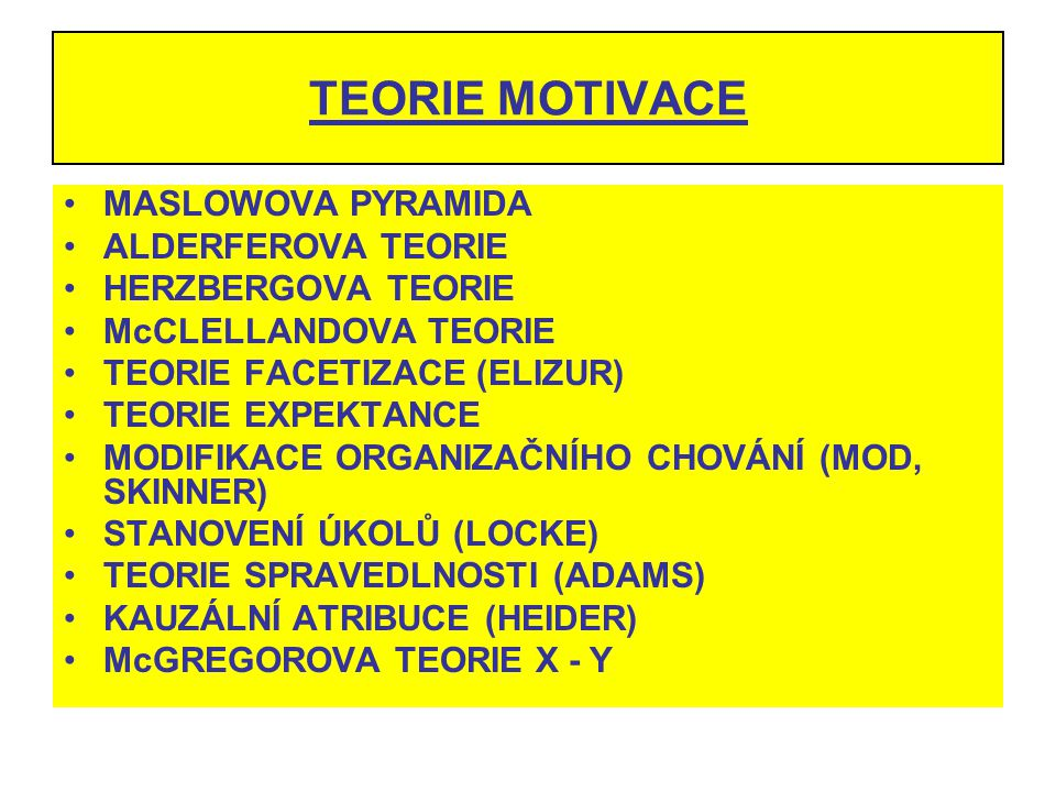 TEORIE MOTIVACE MASLOWOVA PYRAMIDA ALDERFEROVA TEORIE