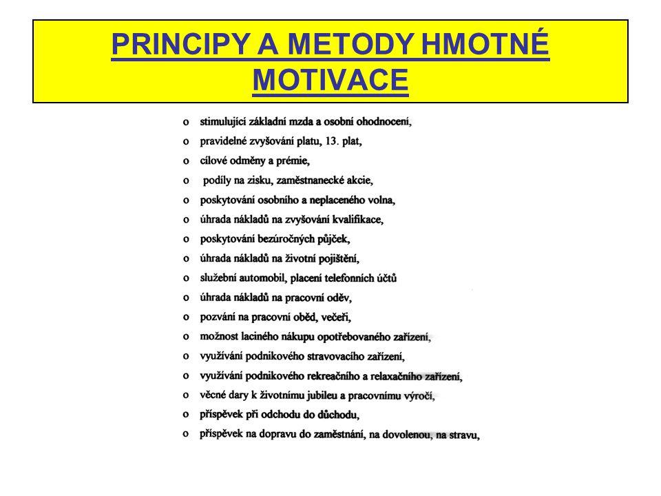 PRINCIPY A METODY HMOTNÉ MOTIVACE