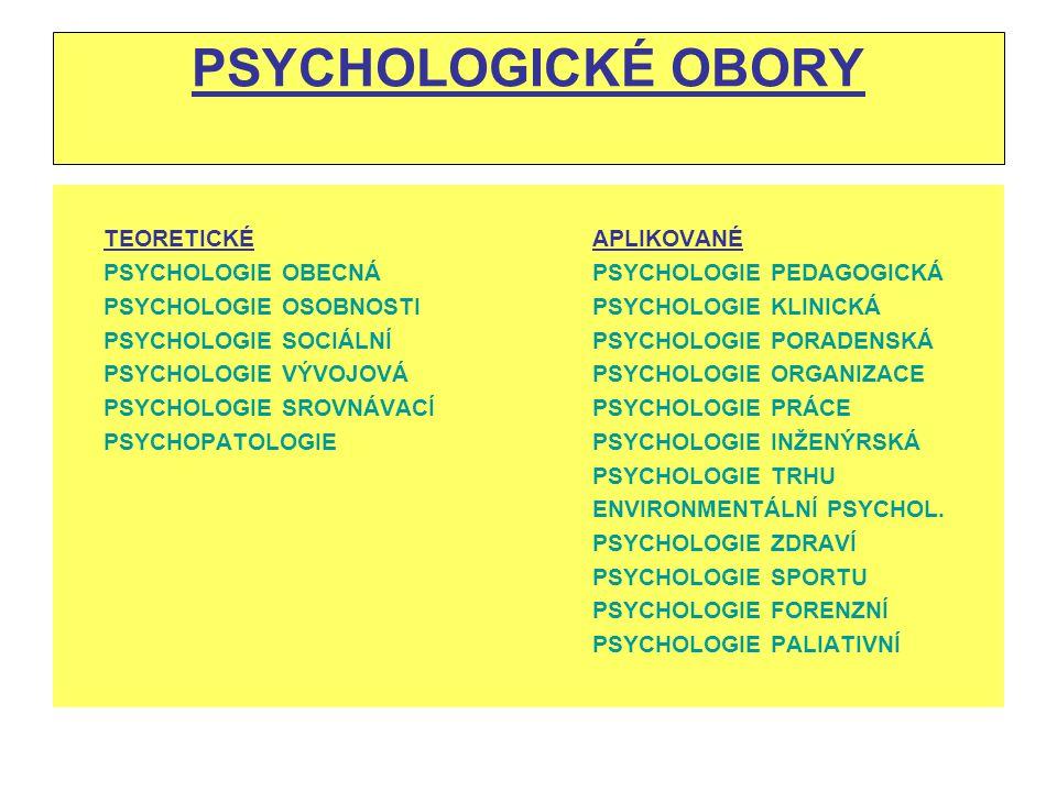 PSYCHOLOGICKÉ OBORY TEORETICKÉ APLIKOVANÉ