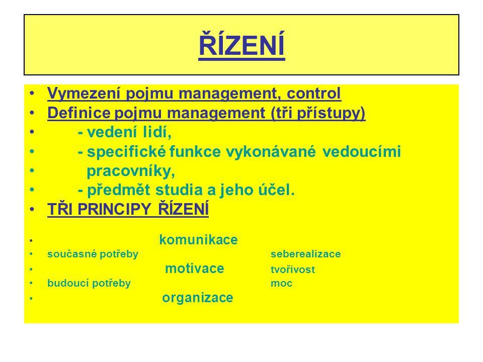 ŘÍZENÍ Vymezení pojmu management, control